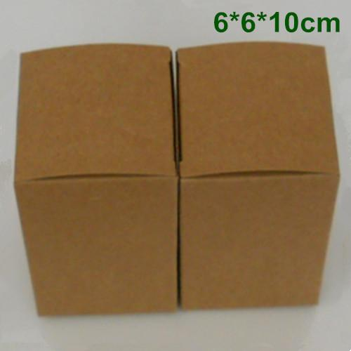 6*6*10cm Kraft Paper Box Gift Packaging Box for Jewelry Ornaments Perfume Essential Oil Cosmetic Bottle Wedding Candy Tea DIY Soap Packing