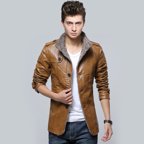 best selling Fall-2015 Autumn Winter new style for men man leather coats fashion mandarin collar suede jackets thicken outerwear leather clothing