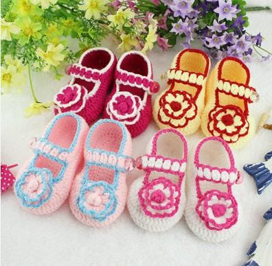 2015 2015 Pretty flower baby crochet shoes.High quality,Free shipping,Mix design custom,Size 9cm10cm11cm,Toddler shoes 0-12M cotton