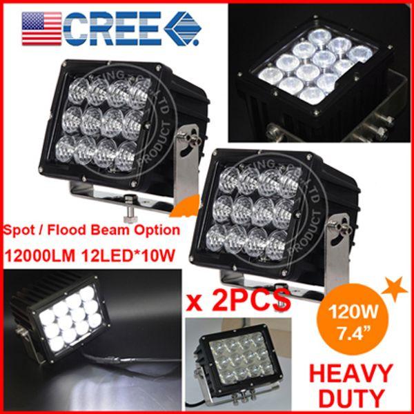 "EMS 2PCS 7.4"" 120W CREE 12LED*(10W) Driving Work Light Offroad SUV ATV 4WD 4x4 Spot / Flood Beam 9-60V 12000lm Heavy Truck Forklift Bright"