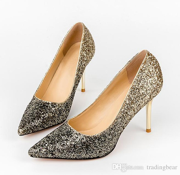 Glitter Sequined Gradient Color Gold Silver Pointed Toe Pumps Sexy Ladies High Heel Prom Gown Shoes 8 Colors size 34 to 39