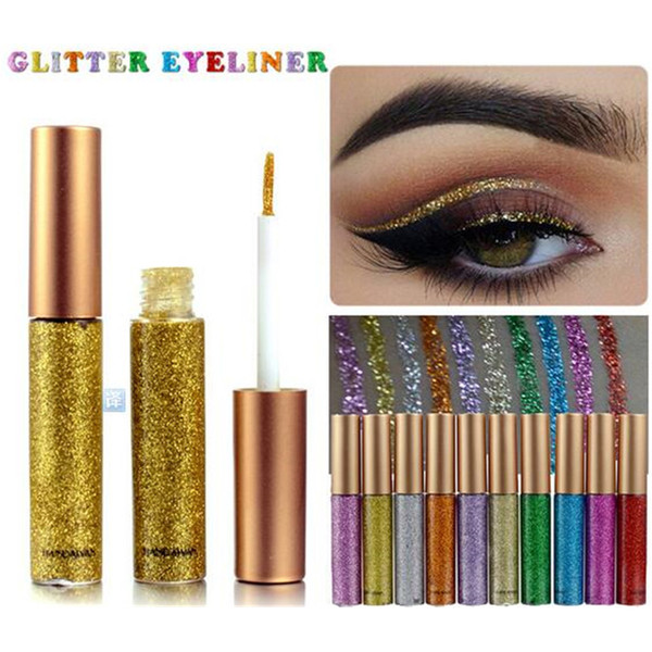 Makeup Glitter EyeLiner Shiny Long Lasting Liquid Eye Liner Shimmer eye liner Eyeshadow Pencils with 10 colors for choose