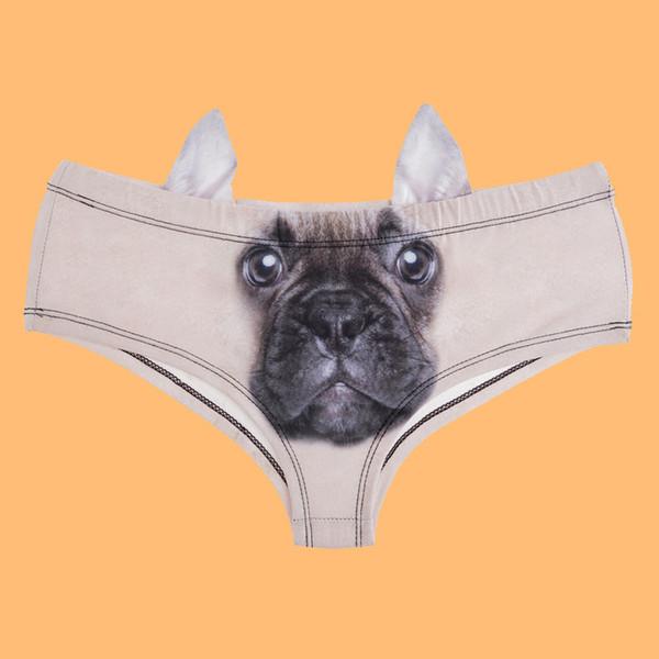 Elliehouse 2017 Fashion Animal Women Ear Underwear cute dog ear panties French Bulldog 3D Printing Sexy Panties Woman Lingerie Underwear