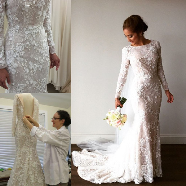 2017 Vintage Mermaid Arabic Wedding Dresses Long Sleeve 3D-Floral Appliques Crystal Muslim Bridal Gowns Sweep Train Real Image Brides Dress