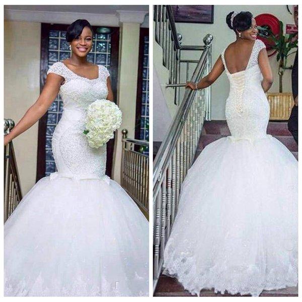 Großhandel 2018 Luxus Afrikanische Weiße Brautkleider Meerjungfrau ...