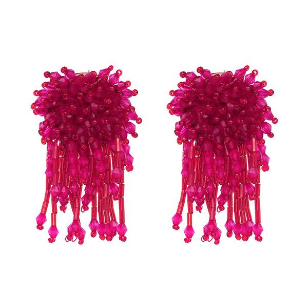 Wholesale Cheap Earring for Women Import Rose Crystal Beads Tassel Earring Fashion Alloy Earring 2017 for Gift