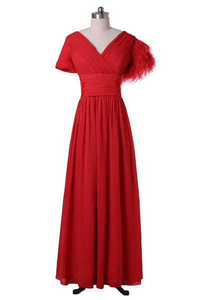 2019 New Fashion Red Prom Dresses Short Sleeve Feather Pleated Chiffon Floor LengthParty Gowns Zipper Back Custom Made P179