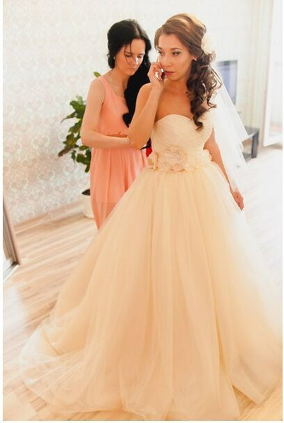 New Coming 2019 Champagne Tulle A Line Wedding Dresses Handmade Flowers Corset Tie Up Princess Bridal Gowns Modern Off the Shoulder Hot Sale