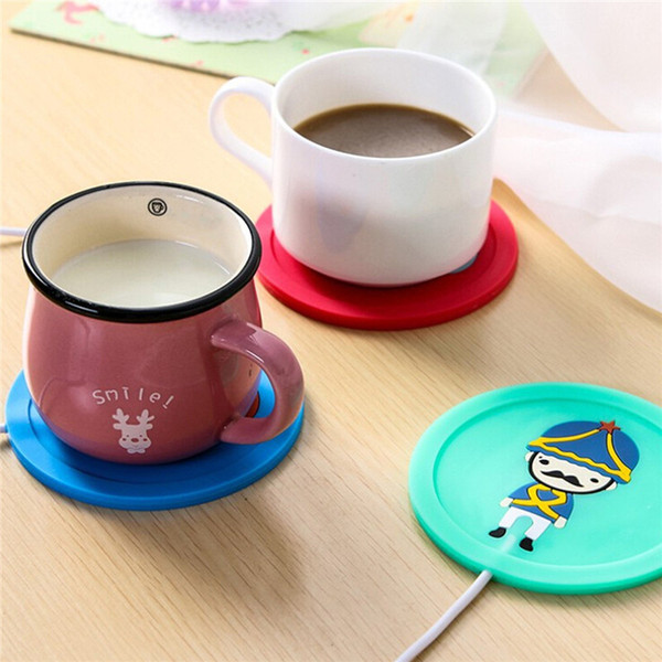 Wholesale-Beautiful Design 5V USB Silicone Heat Warmer Heater Milk Coffee Mug Hot Drinks Beverage Cup 3.75W 9.5x0.6cm 3Color