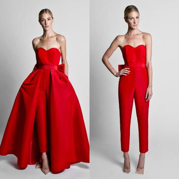 2018 Yeni Krikor Jabotian Kırmızı Tulumlar Ayrılabilir Etek Ile Sevgiliye Sevgiliye Ucuz Balo Abiye Kadınlar için Pantolon Custom Made