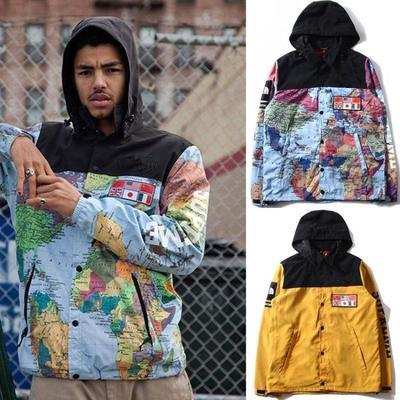 North The World Map Jacket Reflective Flag Map Mens Hoodie Jacket  Windbreaker The Map Of The World Flag Wind Coat Jackets 008# Mens Style  Jackets ...