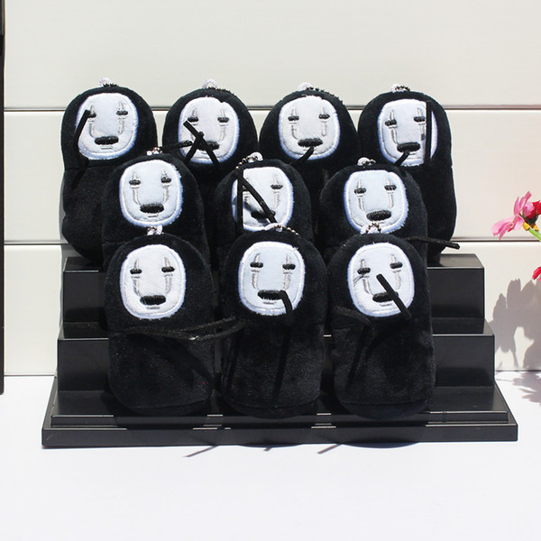 10pcs Cartoon Spirited Away No face Stuffed Plush Toys Wity Tag Soft Doll With Ring 10cm
