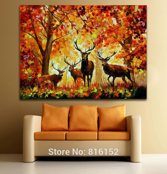 Deer in Fall Forest Palette Knife Wild Animals Pittura ad olio Stampe su tela Decorazione di arte della parete per Home Office Hotel Cafe