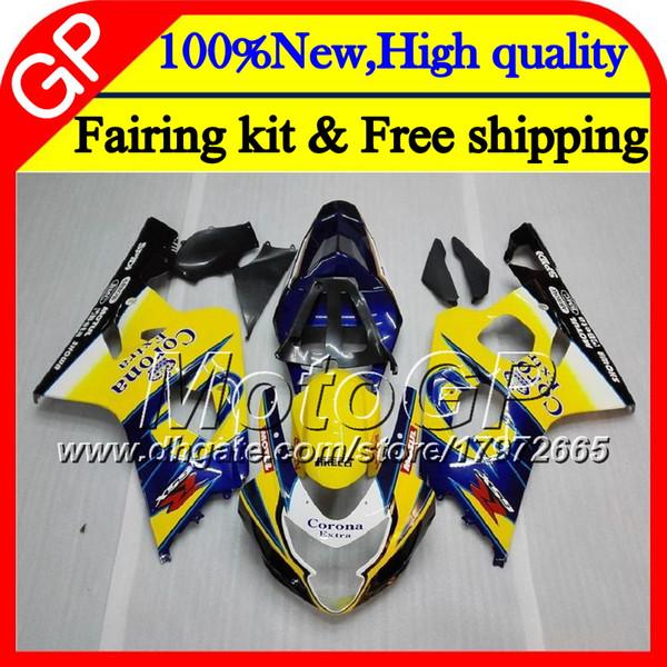 Cuerpo para SUZUKI GSXR 750 GSX R600 K4 GSXR 600 04 05 24GP10 GSX-R750 GSX-R600 GSXR750 Azul CORONA 04 05 GSXR600 2004 2005 Carenado de motocicleta
