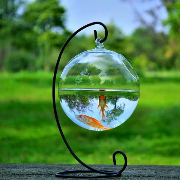 12cm Altezza Rack Holder Forma rotonda Hanging Glass Acquario Fish Bowl Fish Tank Fiore Vaso Decorazione della casa