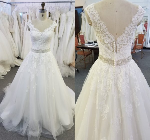 Real Image Lace Wedding Dresses 2018 V Neck Cap Sleeves Crystal Sash Tulle Backless Wedding Dress Vintage Bridal Dresses Aline Wedding Gown