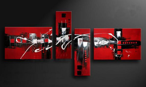 top popular 100% Handmade Red Black White Colors Abstract Oil Painting on Canvas Wall Art 4 Piece Picture For Home Hotel Bar Cafe 2019