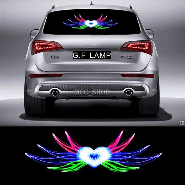 90 * 25 cm Angel Hearts Flash Pegatina del coche Ritmo de la música LED EL hoja de la lámpara de luz Música de sonido activado ecualizador