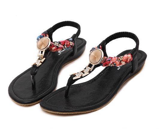 Plus Size 35 To 40 41 Bohemian Women Flat Heel Crystal Rhinestone Sandals Flip Flop Beach Shoes 4 Colors