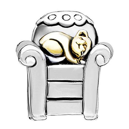 cat in comfortable chair Charm Wholesale alloy material with Gold and Rhodium plating Bead Fit Pandora Bracelet