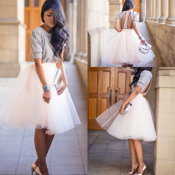 top popular Two Pieces Knee Length Tutu Skirts Soft Gauze Cute Bouffant Tulle Women Dresses Cheap Party Skirts Bridesmaid Homecoming Cocktail Dresses 2019