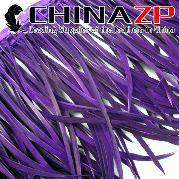 Gold Manufacturer CHINAZP Crafts Factory 10yards/lot 15~20cm(6~8inch) in Width Beautiful Decorative Dyed Purple Goose Biots Feather Trim