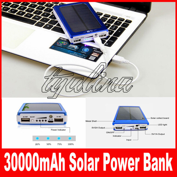 Portable 30000 mAh Solar Battery Panel external Charger Dual 30000mah solar Charging Ports 5 colors choose for Laptop Cellphone Power Bank