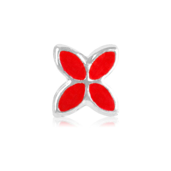 Red Lucky Clover Painted Charm Bead Big Hole Fashion Women Jewelry European Style For Pandora Bracelet