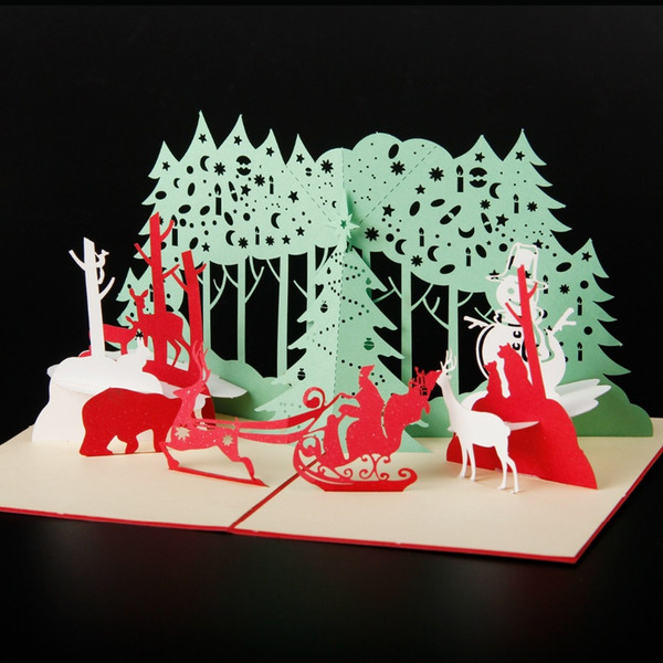 100pcs christmas party handmade kirigami bulk 3d laser cut greeting cards as merry christmas gifts postcard for friends kids - Cheap Christmas Cards In Bulk