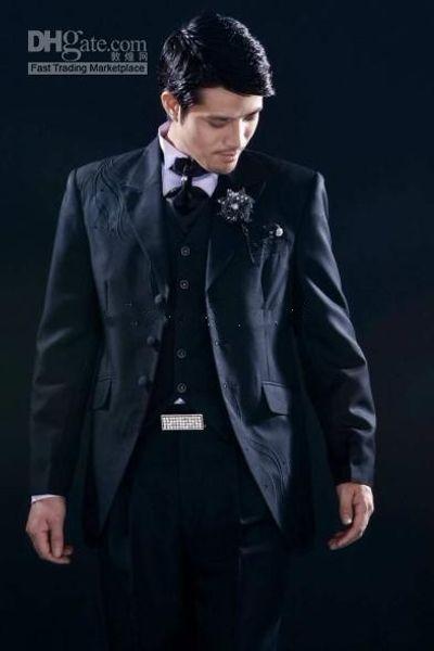3 Buttons Embroidery Groom Tuxedos Peak Lapel Groomsman Suits (Jacket+Pants+Tie+Waistcoat) G691