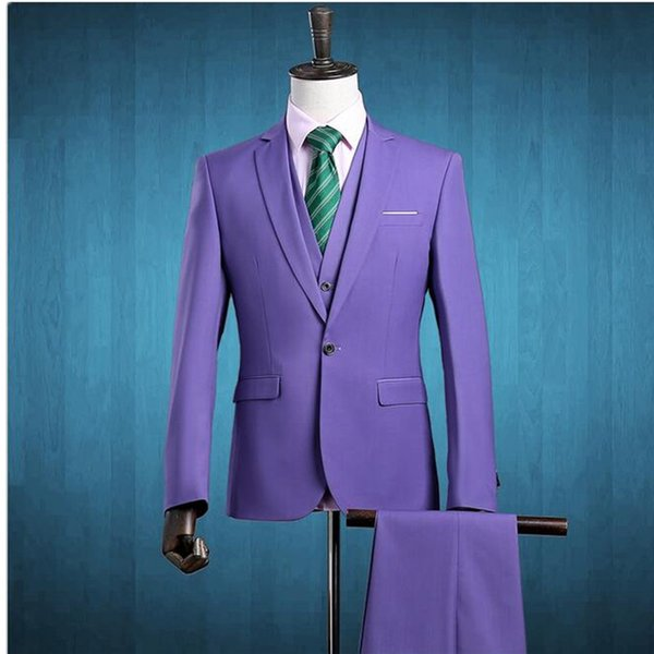 (Jacket+Pants+Vest) 2018 Men Three Piece Slim Fit One Button Formal Suits Purple Wedding Suit Business Mens Formal Wear