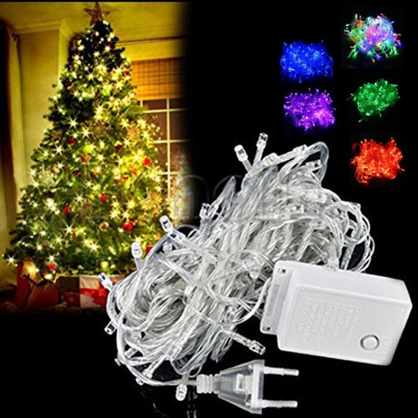 10 M 100 LED luces de lujo bola decorativa fiesta de Navidad Festival Twinkle String lámpara guirnalda 9 colores envío gratis
