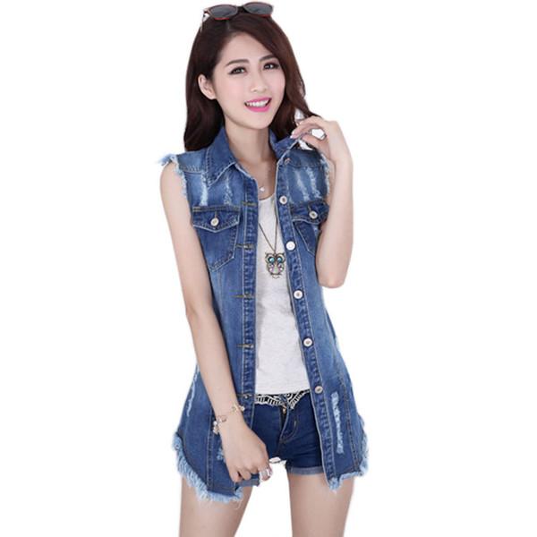 Großhandels-2015 Sommer-neue weibliche Denim-Weste-koreanische Art-Frauen-Sleeveless lange Jeans-Westen-Jacken-beiläufige Frauen-Cowboy-Kleidung-große Größe 5XL