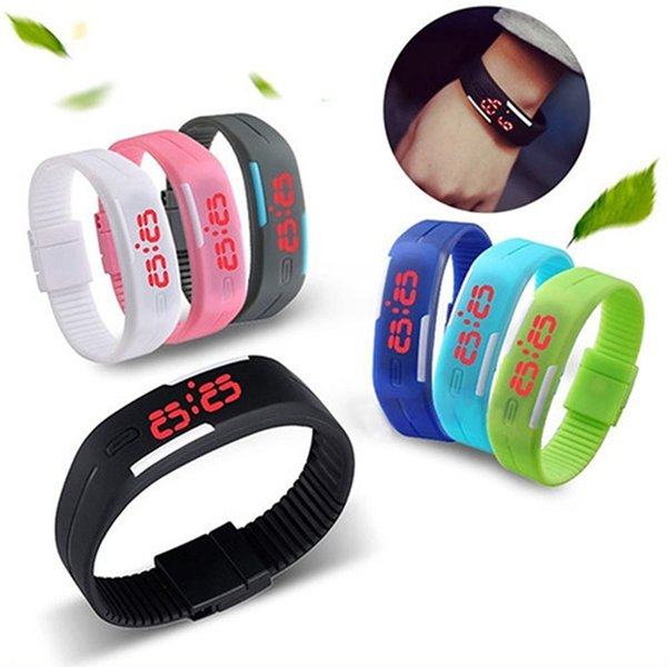 Fashion Men Boys Touch Screen Led Watch Sports Rectangle Students Silicone Rubber Bracelets Digital Watches For Men Free Shipping