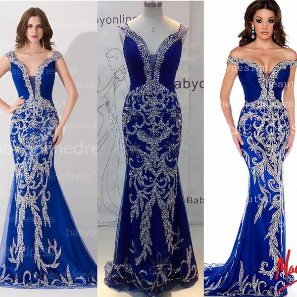 Blue bling prom dresses