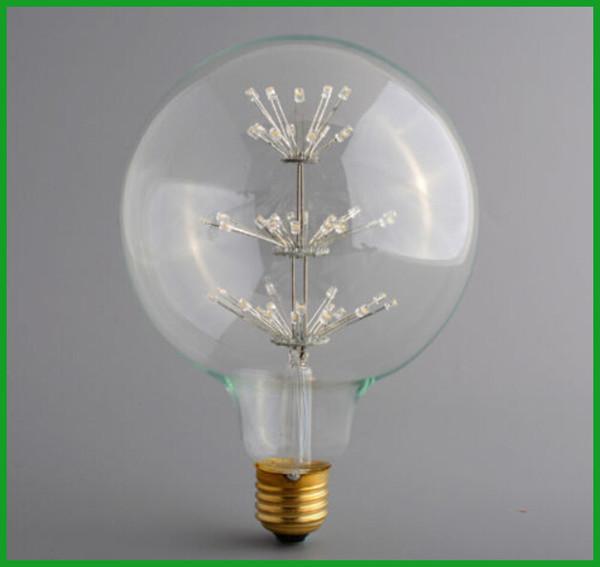 EMS Libérez le bateau G125 Rétro Chirstmas Lumière Edison Style E26 E27 3W AC120V 220V Rétro Saving Star Tree Filament LED Lampe