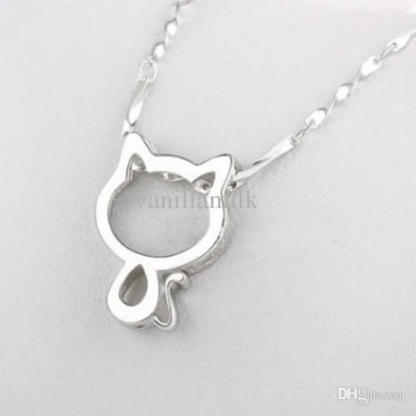 """Cute Women Silver Plated Tiny Cat Pendant Choker Necklace With 17.7""""Chain Fashion Lovely Hollow Kitty Jewelry For Women Girl Best Gift"""