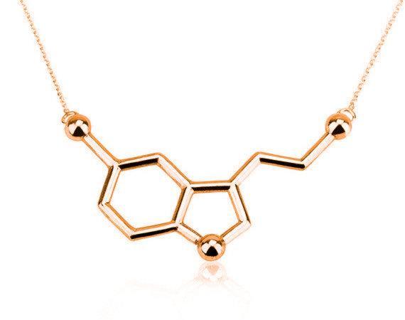 10PCS Simple Molecule Necklace Chemical Formula 5-HT Necklace Hormone Molecular Structure DNA Necklace Nurse Jewelry for Women Men
