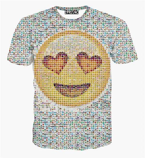 Nouveau mode hommes / femmes emoji t-shirt décontracté causal o-cou impression drôle de bande dessinée top tee plus la taille