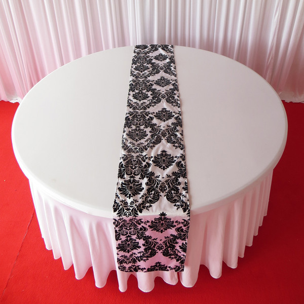 best selling 100PCS Wholesale Price 35cm*280cm White & Black Flocking Taffeta Table Runners With Free Shipping For Table Decoration Use