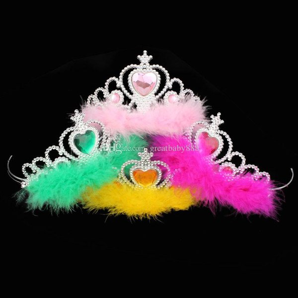 Corona di film ragazze piuma accessori per capelli imperial bambini corona di strass tiara bambini cosplay incoronazione baby piuma corona 8 colori c3261