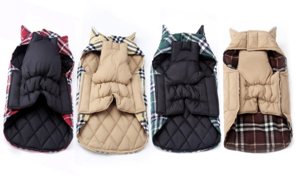 Fa hion plaid winter dog coat pet clothe for mall dog chihuahua outdoor waterproof large dog jacket