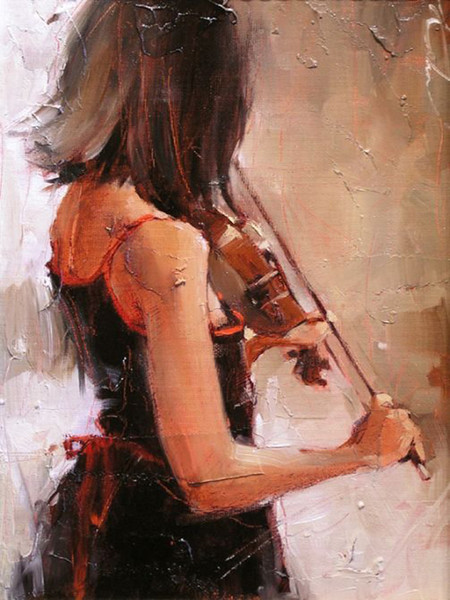 High quality Handmade Living Room Best Decoration Oil Painting On Canvas Girl with Violin MUISIC art Oil Painting For home decor