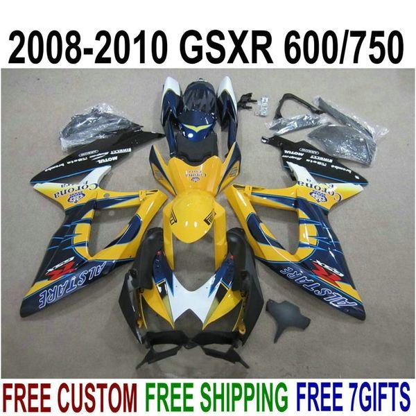 ABS full fairing kit for SUZUKI GSXR750 GSXR600 2008-2010 K8 K9 blue orange Corona fairings set GSXR 600/750 08 09 10 KS60