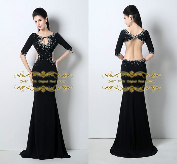 Unique Designer Scoop Sexy Little Cut Front Crystal Beaded Open Back Mermaid Prom Dresses Half Sleeves 2018 100% Real Image Prom Dress