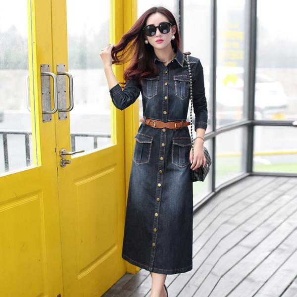2016 New Jean Dress Casual Cardigan Jeans Dress Long Sleeve Long ...