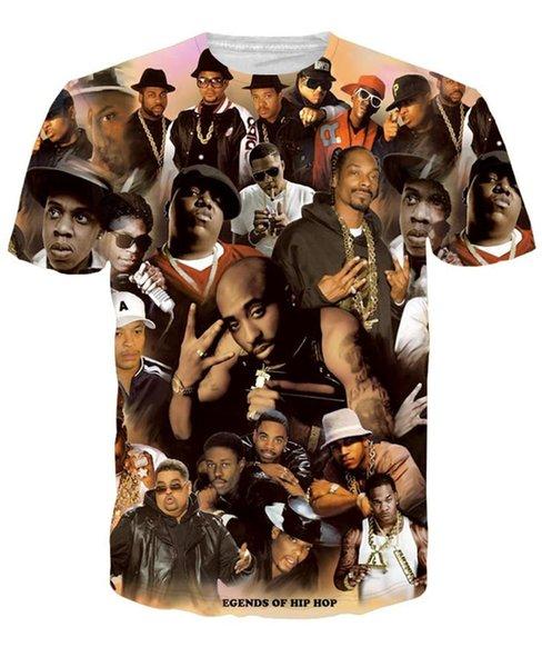 camiseta Rock camiseta impressão Crewneck tupac / Biggie Smalls camiseta Casual mulheres unissex / homens Hip hop camiseta 3d personagem t-shirt