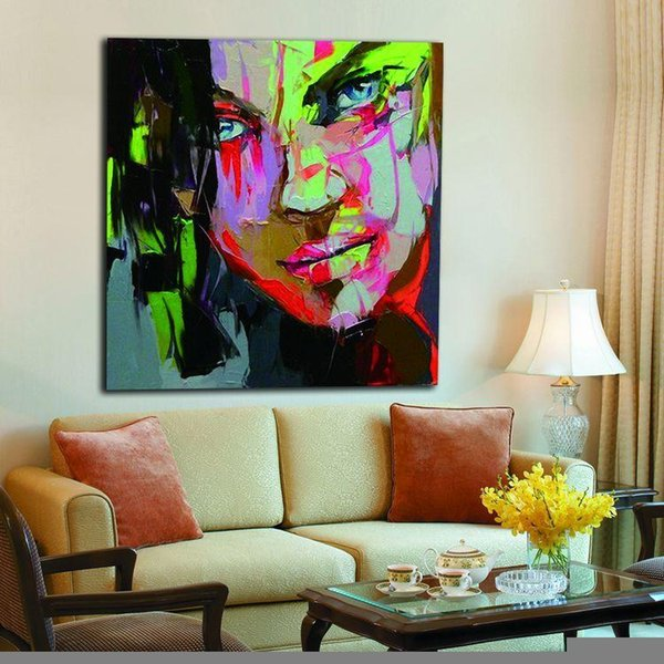 Peevish Girl Hand painted Oil Painting on Canvas Palette Knife Figure Picture Home Bar Cafe Wall Decor Art