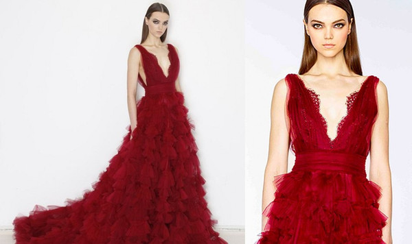 102f8c7a489 Burgundy Tiered Sweep Train Skirt Marchesa Dresses Evening Wear 2016 Sexy V- neck Backless Dubai Arabic Special Occasion Prom Dresses