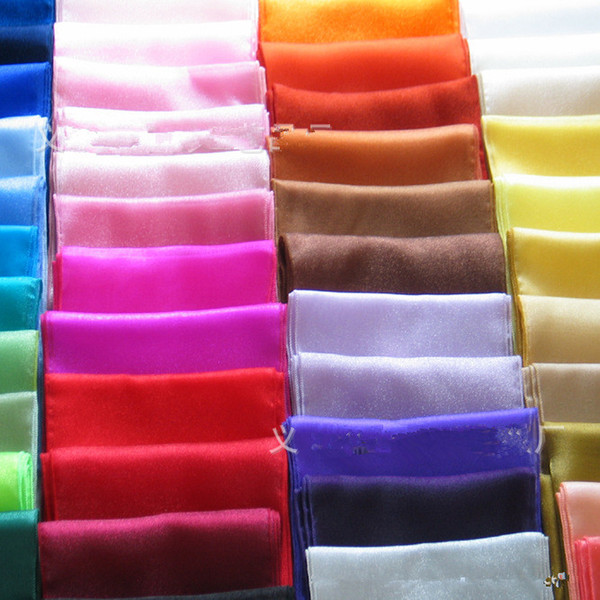 """top popular Hot Sale Wedding Table Runner 50 Pieces 12""""x108"""" Organza Table Runners Wedding Party Supply Decorations 21 Kinds of Color Table Runner GW152 2021"""